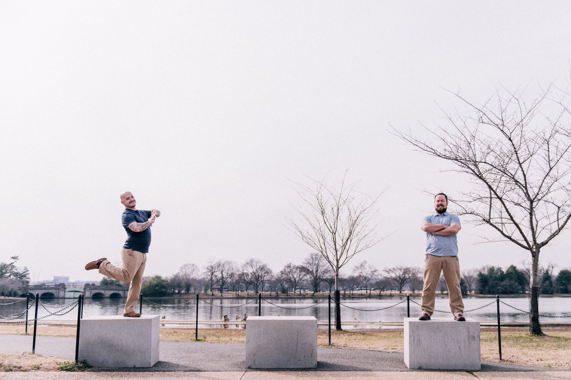 Washington, DC Same Sex Engagement Shoot at the Jefferson Memorial with the Tidal Basin in the background.