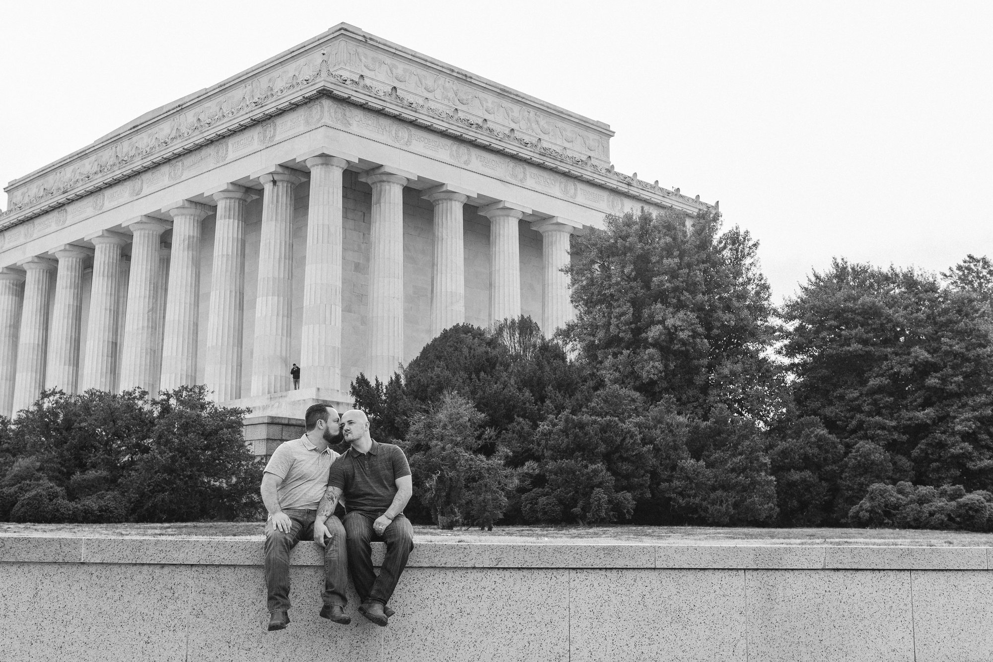 Washington, DC Same Sex Engagement Shoot at the Lincoln Memorial in the background.