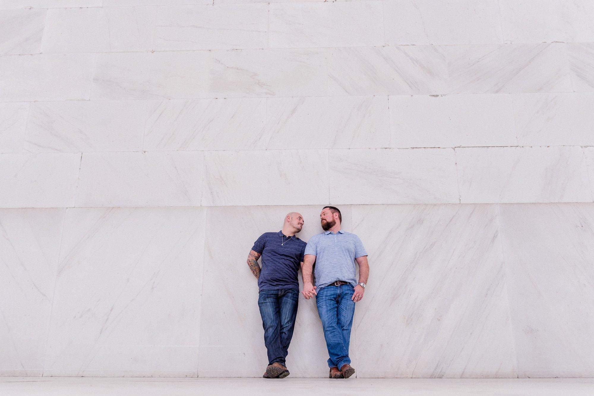 Washington, DC Same Sex Engagement Shoot at the Lincoln Memorial.