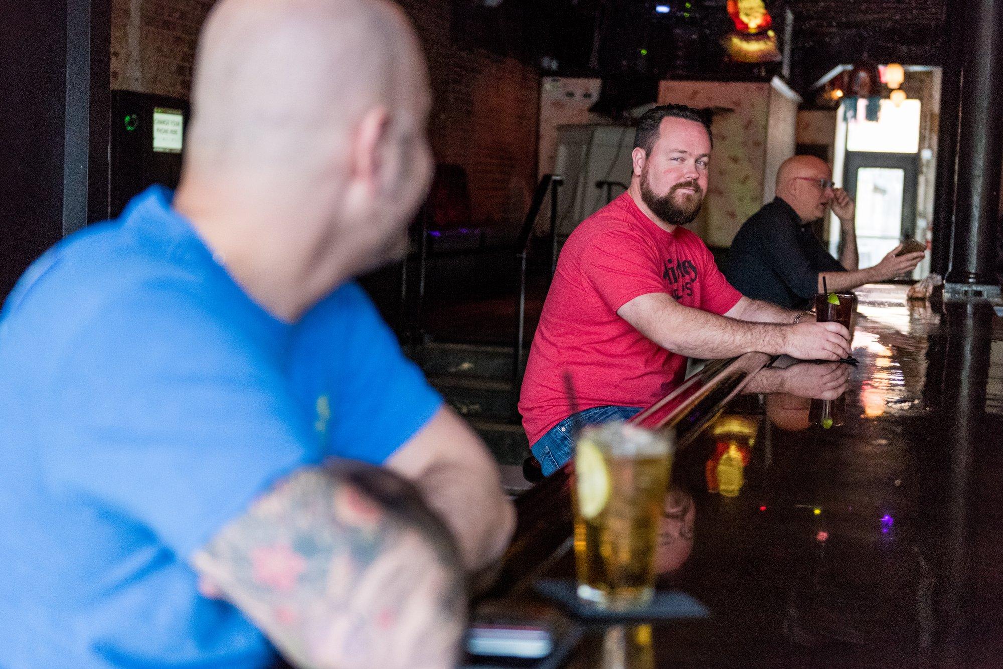 Washington, DC Same Sex Engagement Shoot - Logan Circle, Trade gay Bar / Night club.