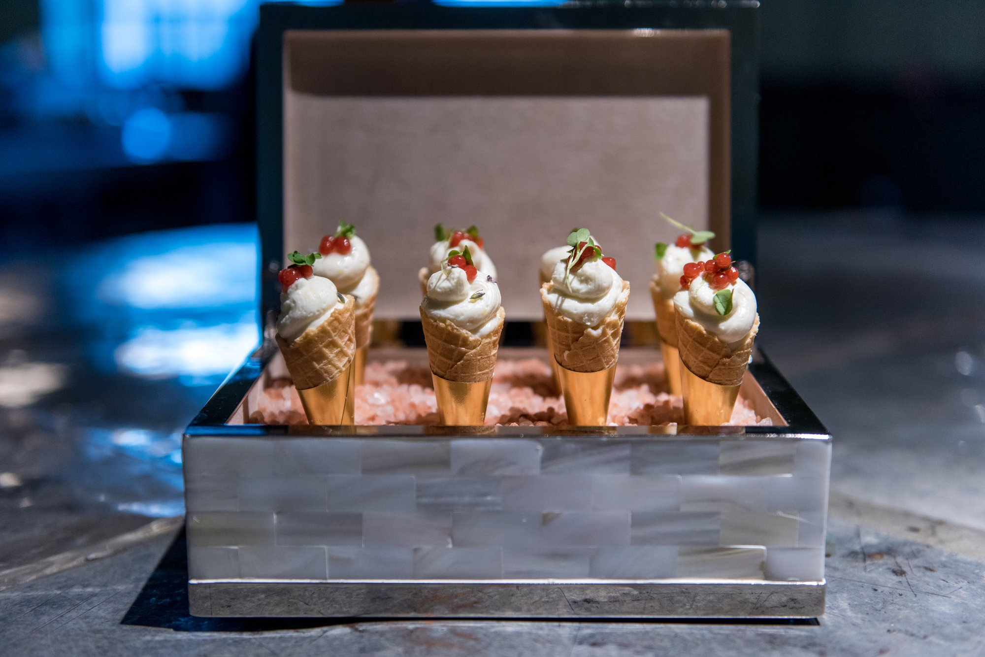 Miniature Lemon Cheesecake Cones with Strawberry Pearls and Lavender from Washington, DC caterer Get Plated