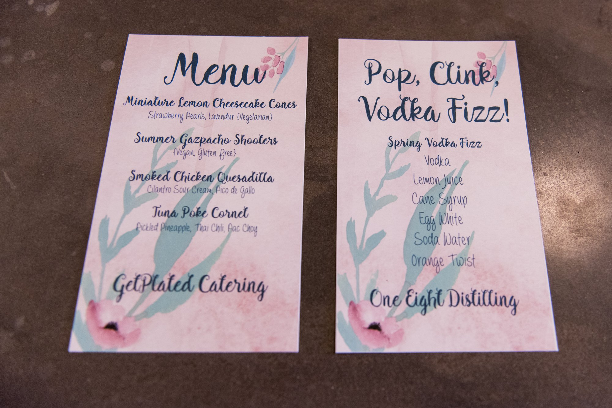 Washington, DC's Get Plated catering menu, and One Eight Distilling's drink menu - Vodka