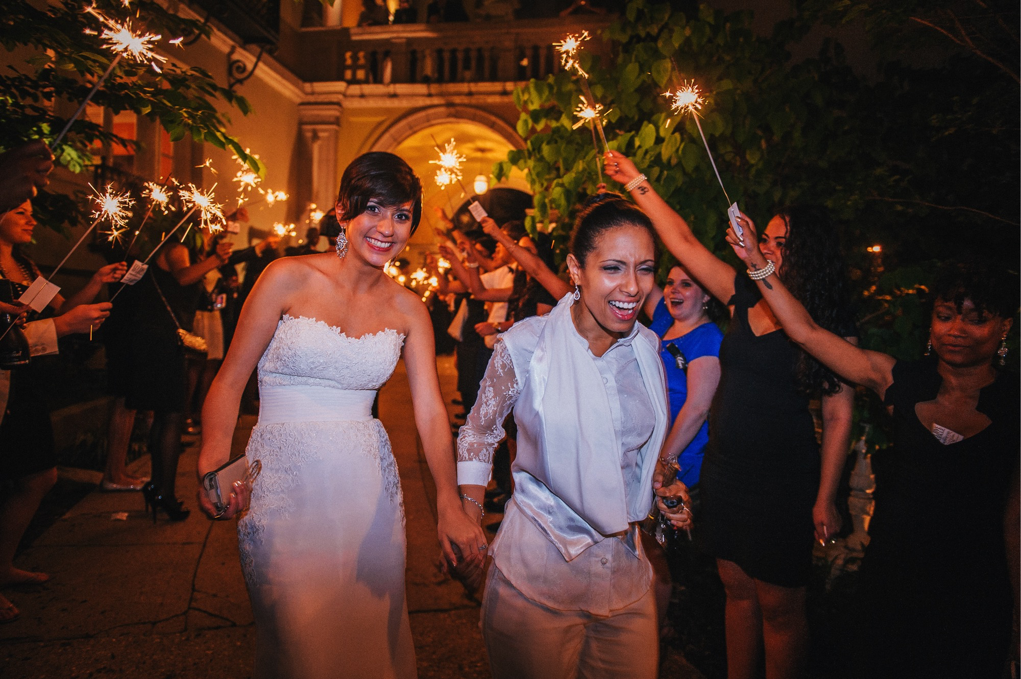 Josephine Butler Parks Center DC LGBT Wedding Sparkler Exit